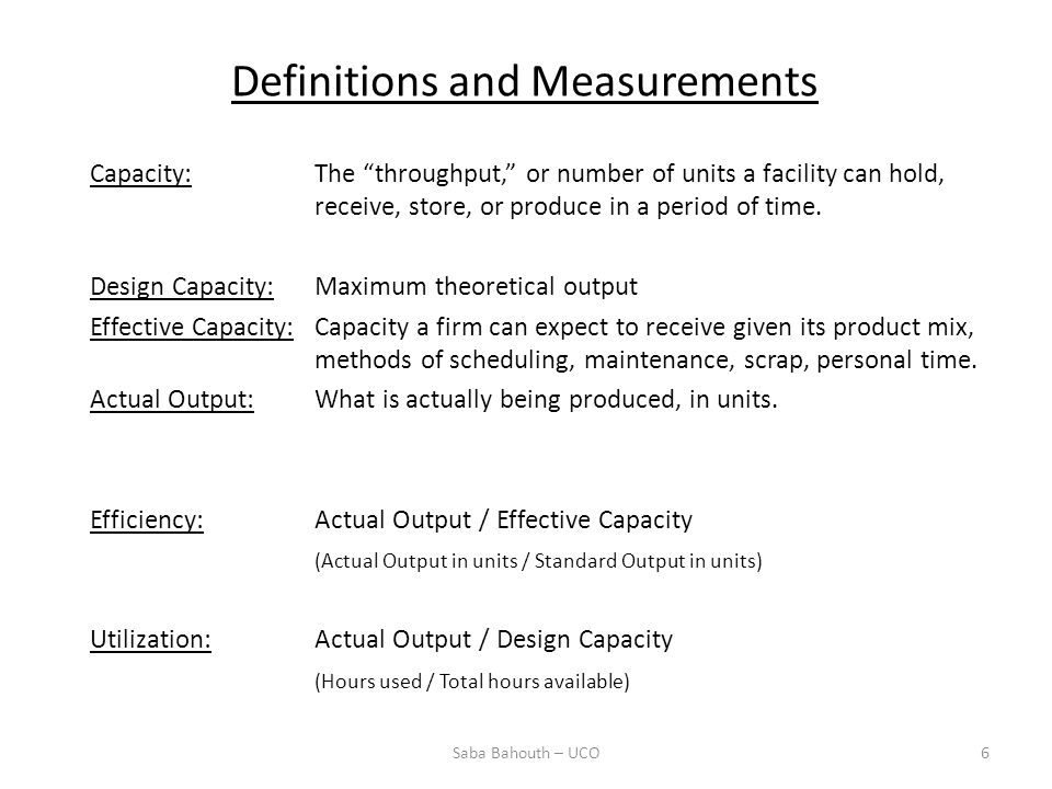 Definitions and Measurements
