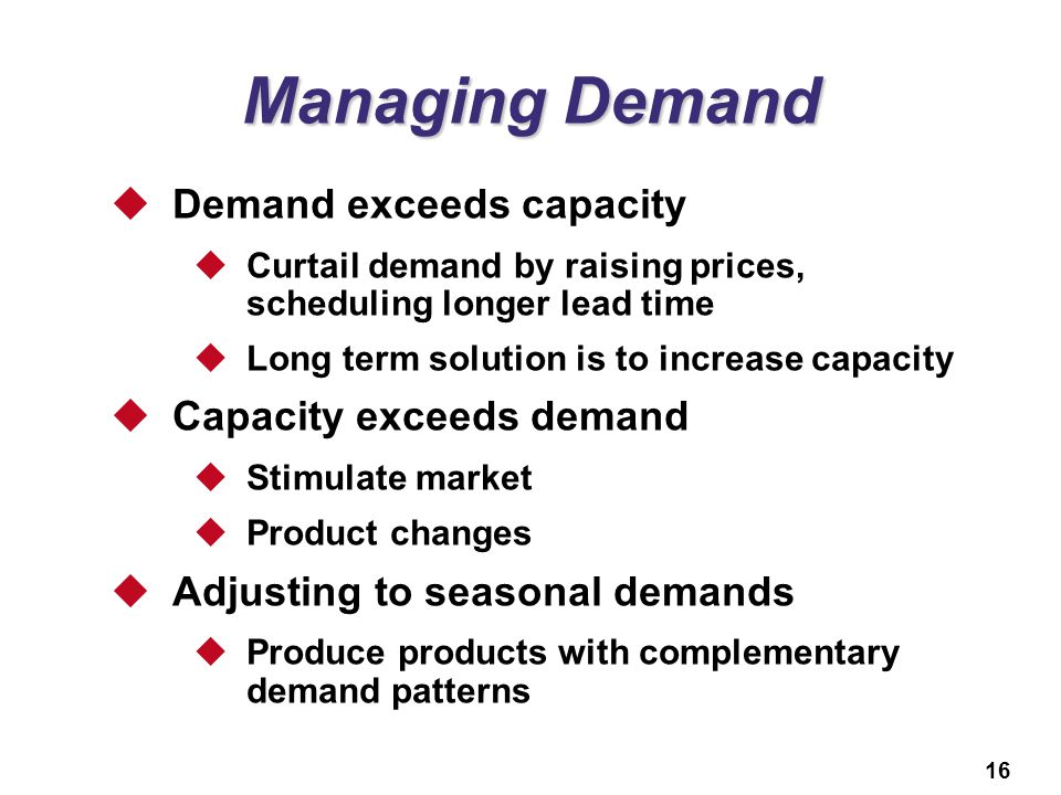 Managing Demand Demand exceeds capacity Capacity exceeds demand
