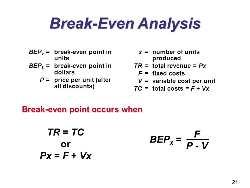 Break-Even Analysis TR = TC F or BEPx = P - V Px = F + Vx