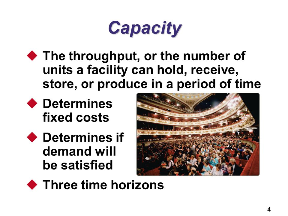 Capacity The throughput, or the number of units a facility can hold, receive, store, or produce in a period of time.