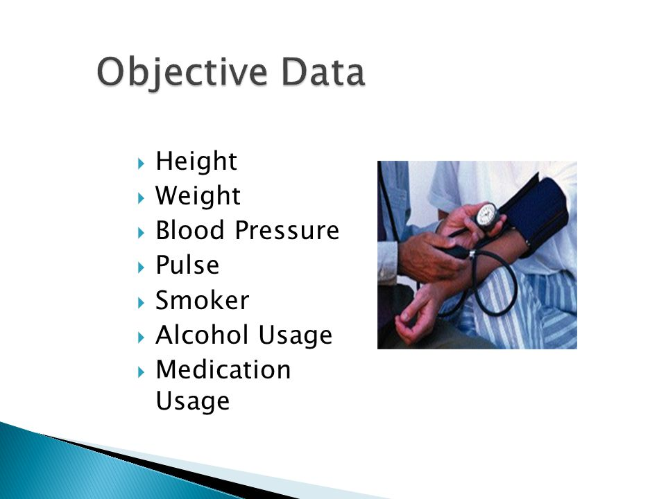 Objective Data Height Weight Blood Pressure Pulse Smoker Alcohol Usage