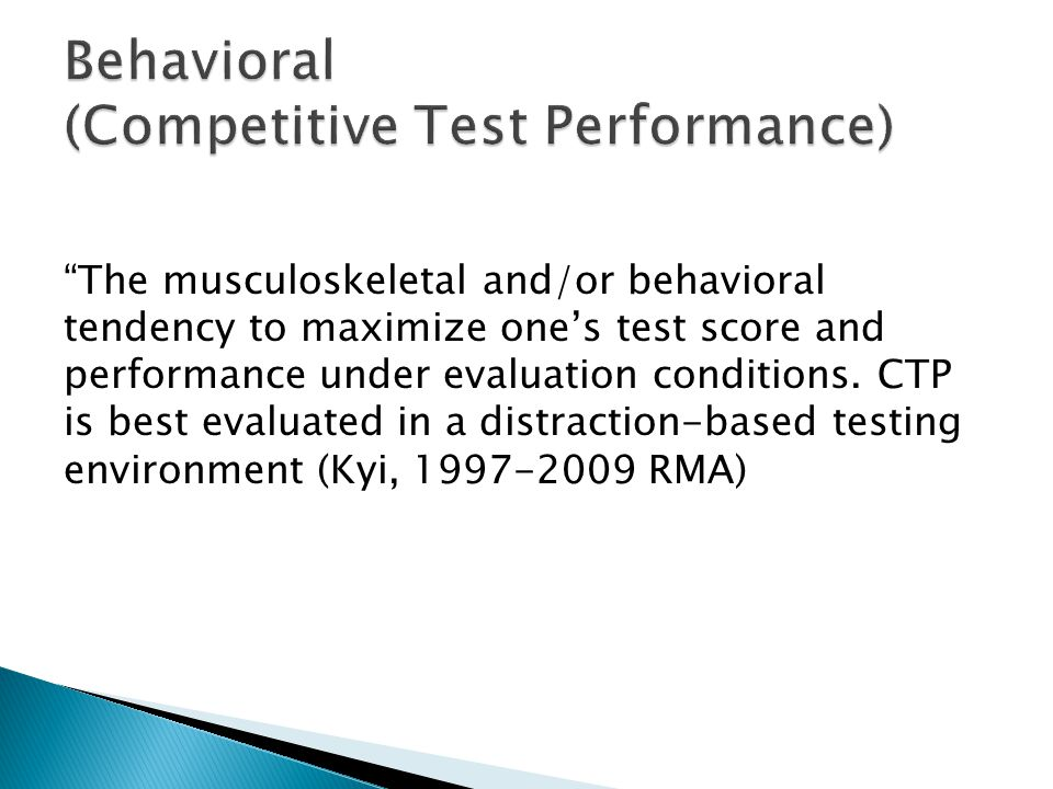 Behavioral (Competitive Test Performance)