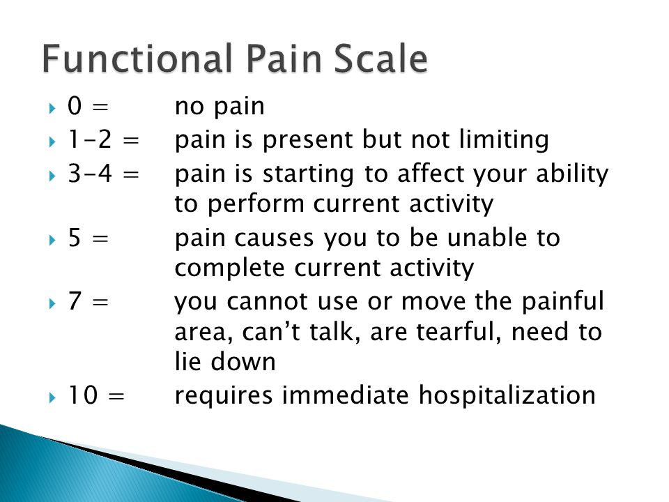 Functional Pain Scale 0 = no pain