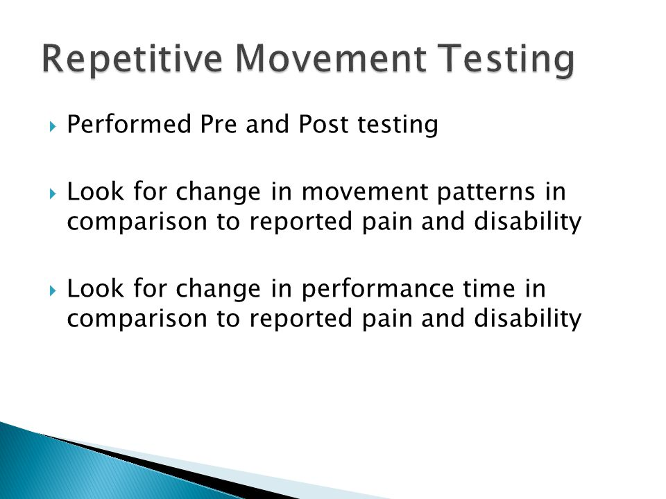 Repetitive Movement Testing