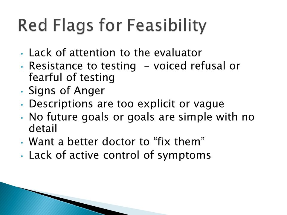 Red Flags for Feasibility