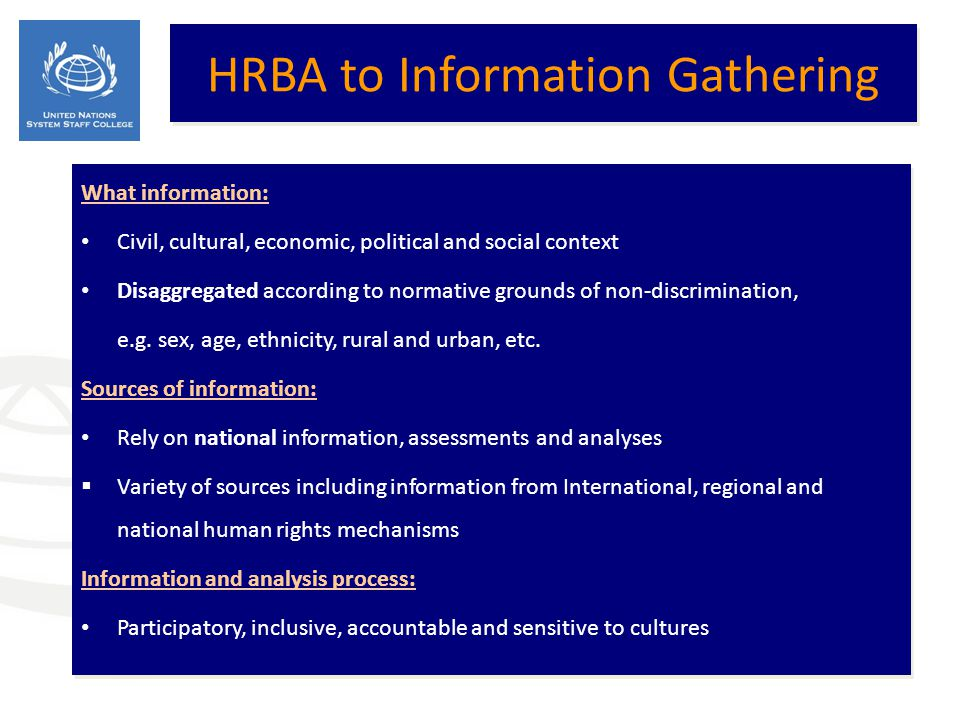 HRBA to Information Gathering