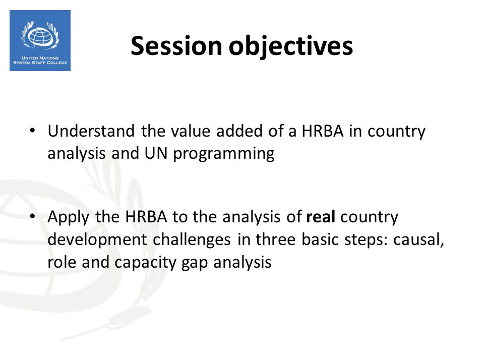 Session objectives Understand the value added of a HRBA in country analysis and UN programming.