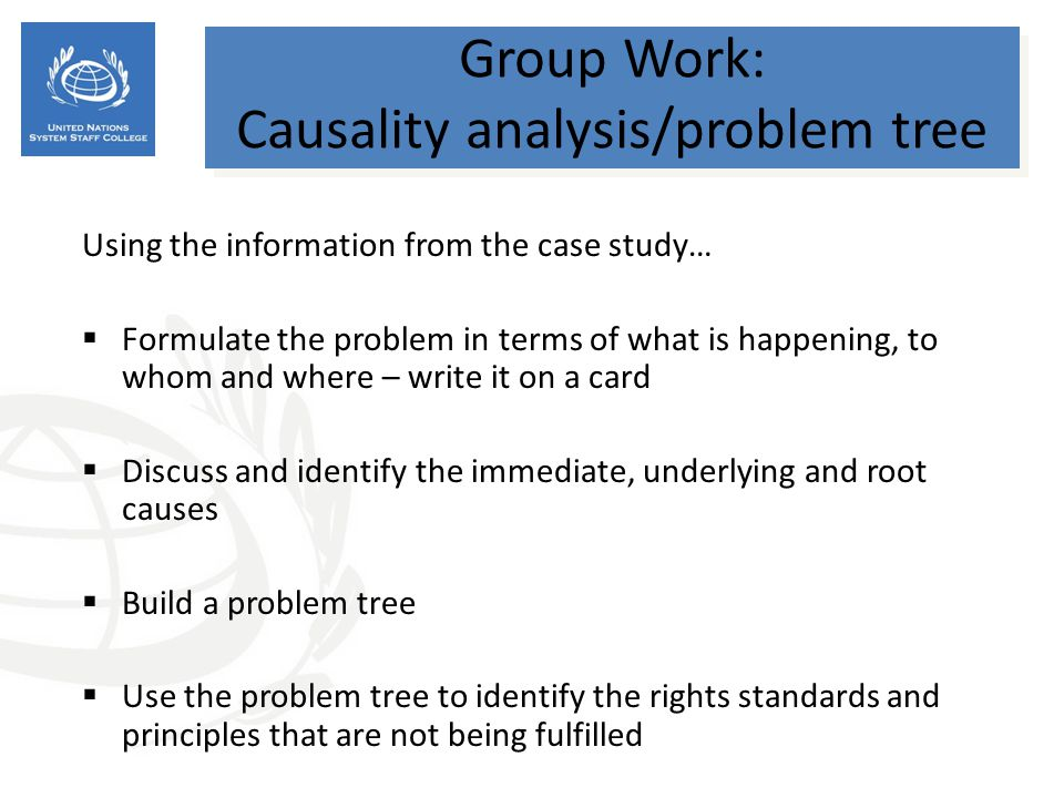 Group Work: Causality analysis/problem tree