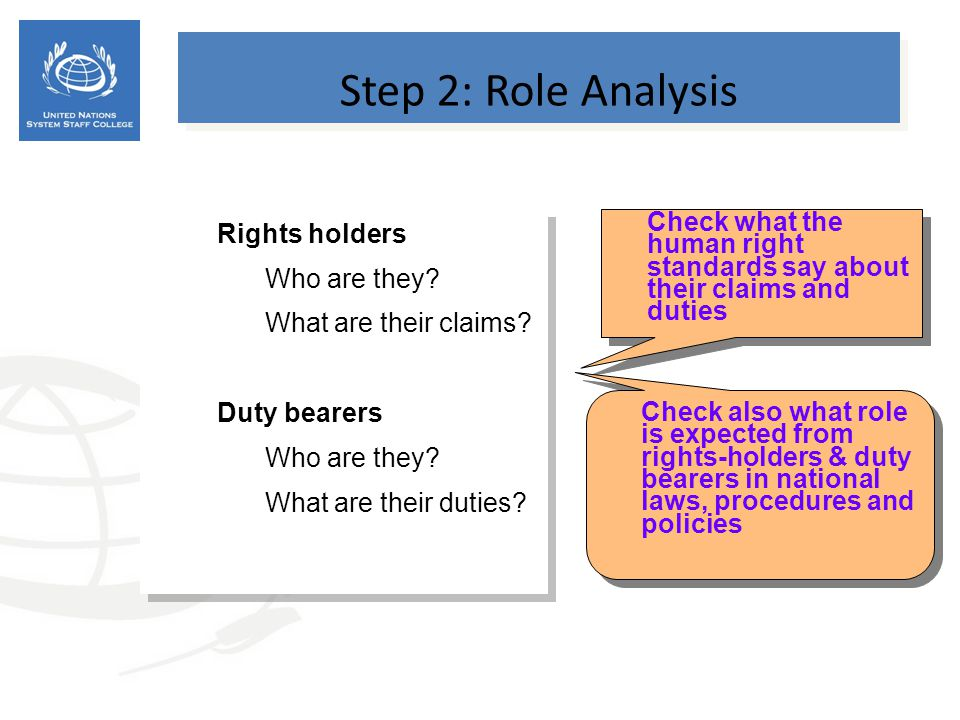 Step 2: Role Analysis Rights holders Who are they
