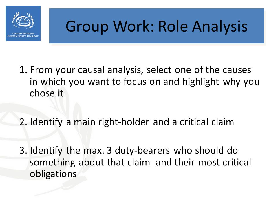 Group Work: Role Analysis