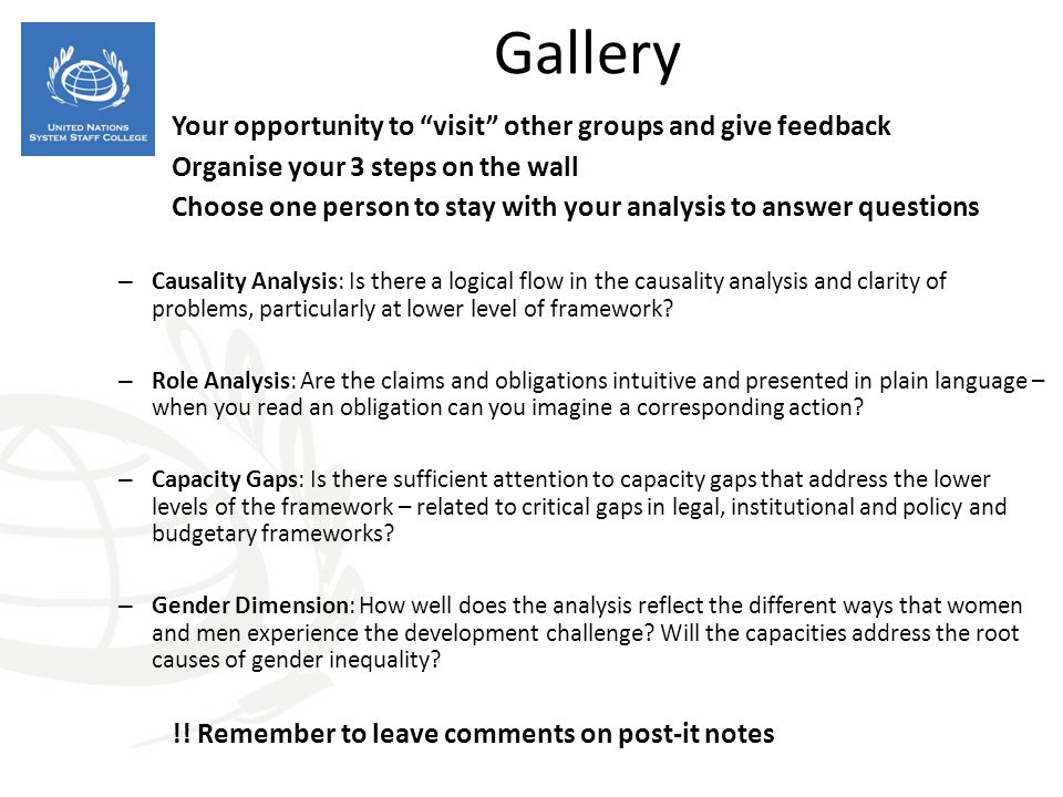 Gallery Your opportunity to visit other groups and give feedback