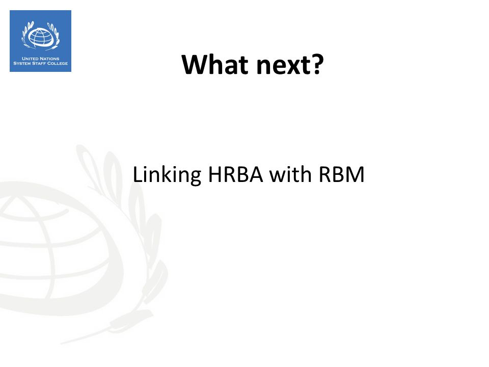 What next Linking HRBA with RBM 34
