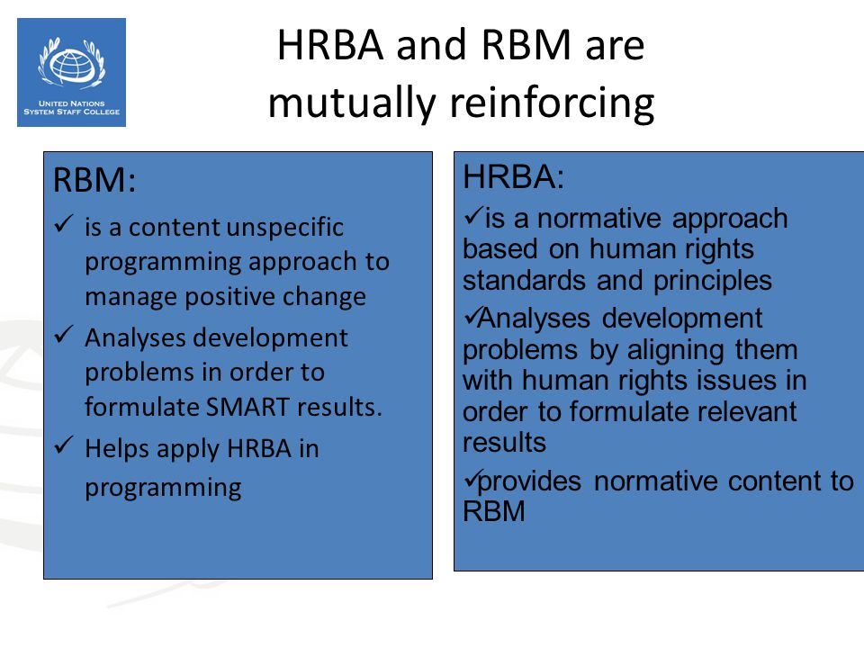 HRBA and RBM are mutually reinforcing