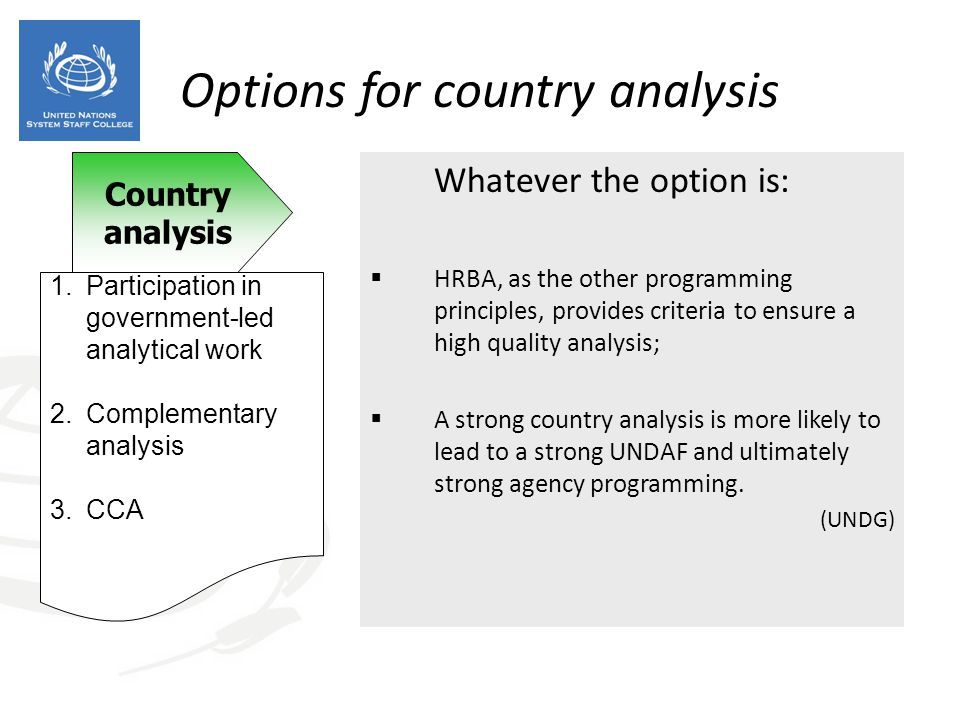 Options for country analysis