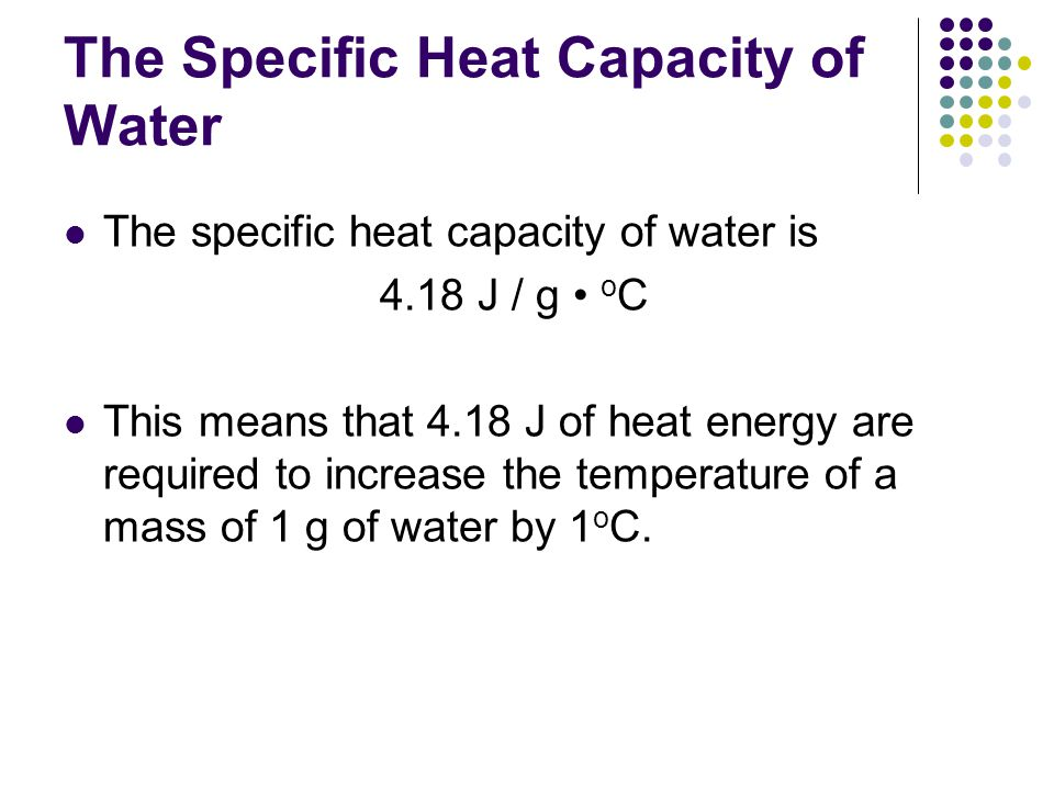 The Specific Heat Capacity of Water