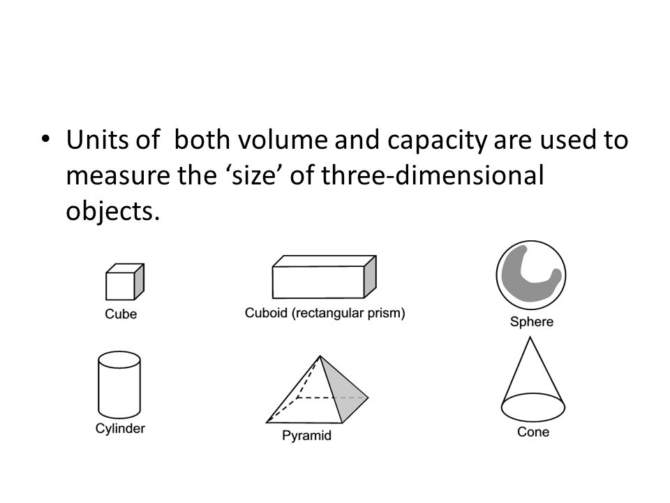 Units of both volume and capacity are used to measure the 'size' of three-dimensional objects.