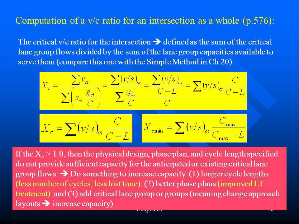 Computation of a v/c ratio for an intersection as a whole (p.576):