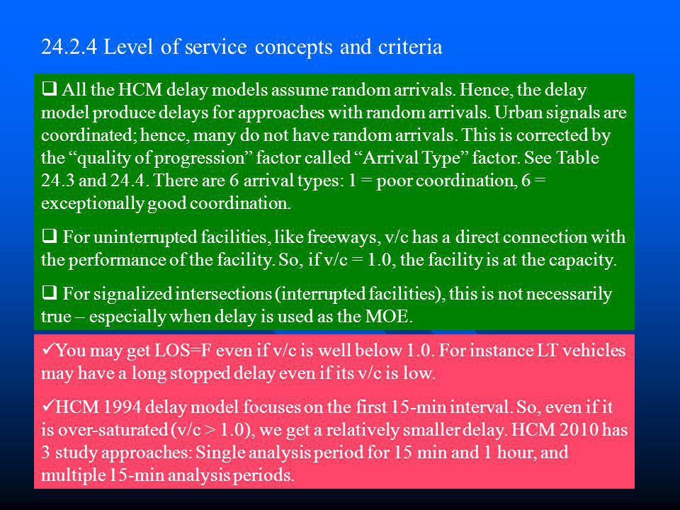 24.2.4 Level of service concepts and criteria