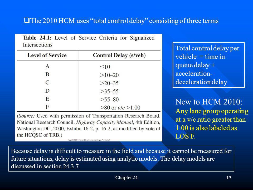 The 2010 HCM uses total control delay consisting of three terms