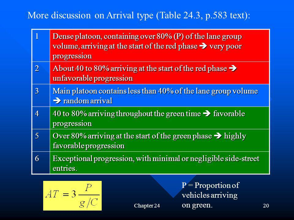 More discussion on Arrival type (Table 24.3, p.583 text):