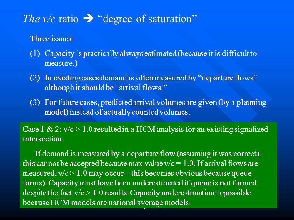 The v/c ratio  degree of saturation