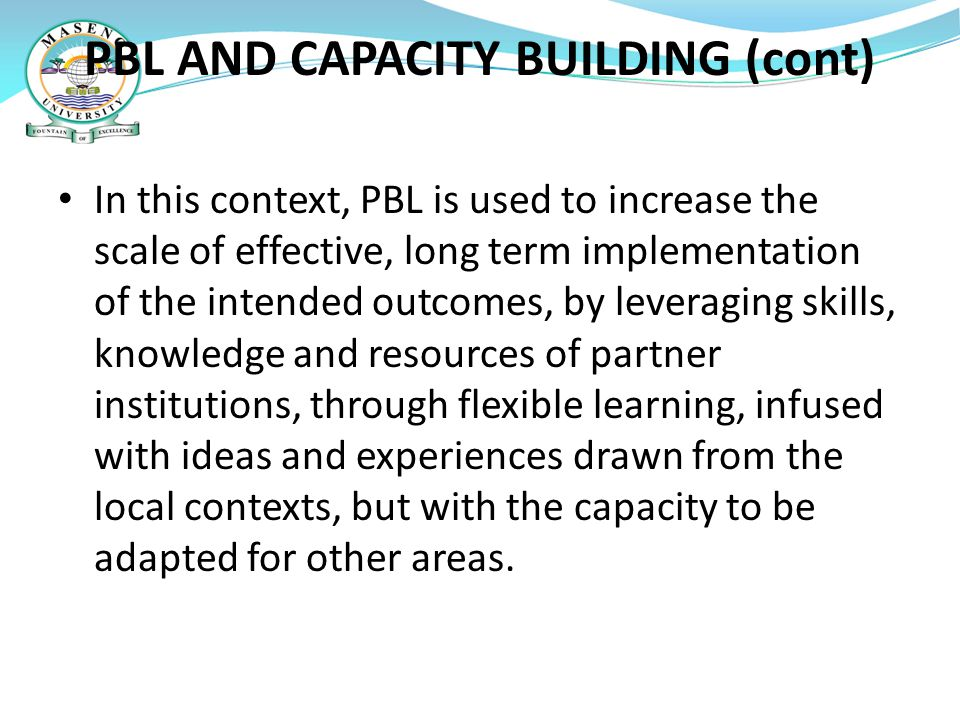 PBL AND CAPACITY BUILDING (cont)