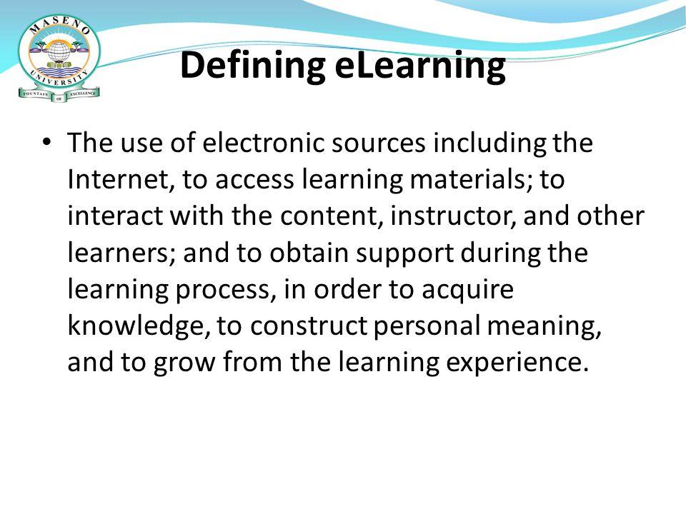 Defining eLearning