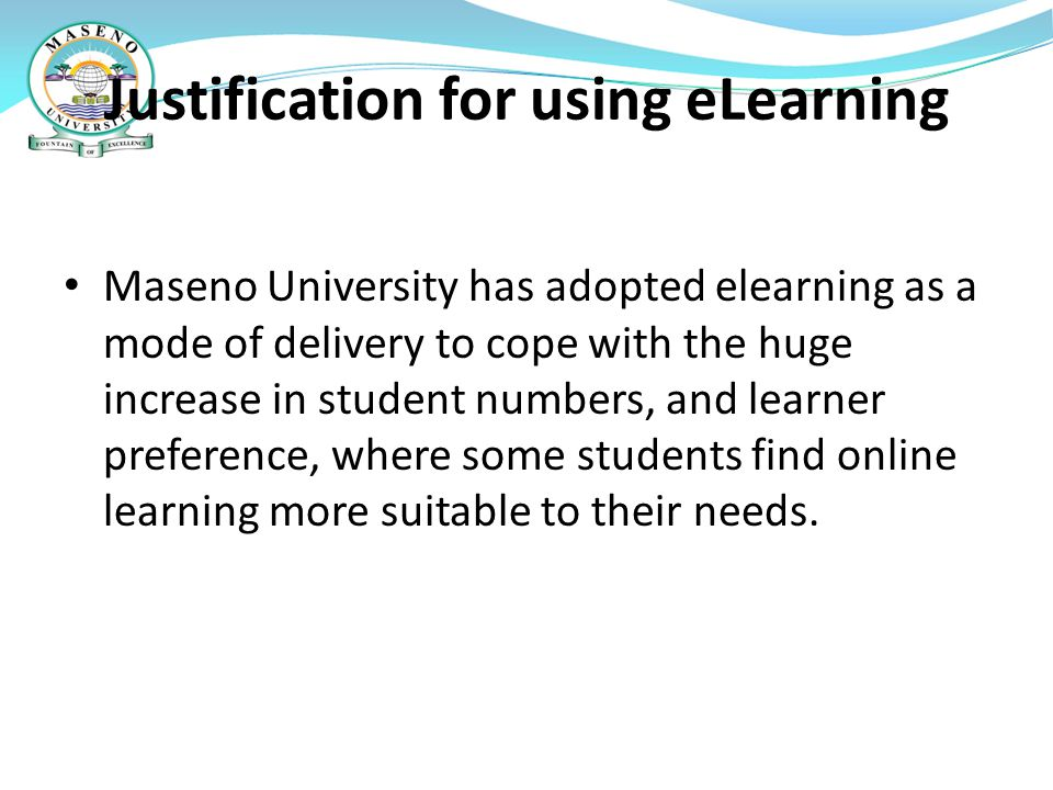 Justification for using eLearning