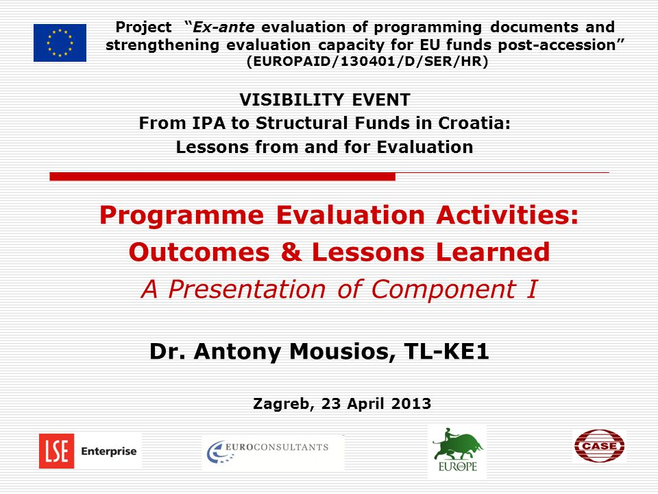 Programme Evaluation Activities: Outcomes & Lessons Learned