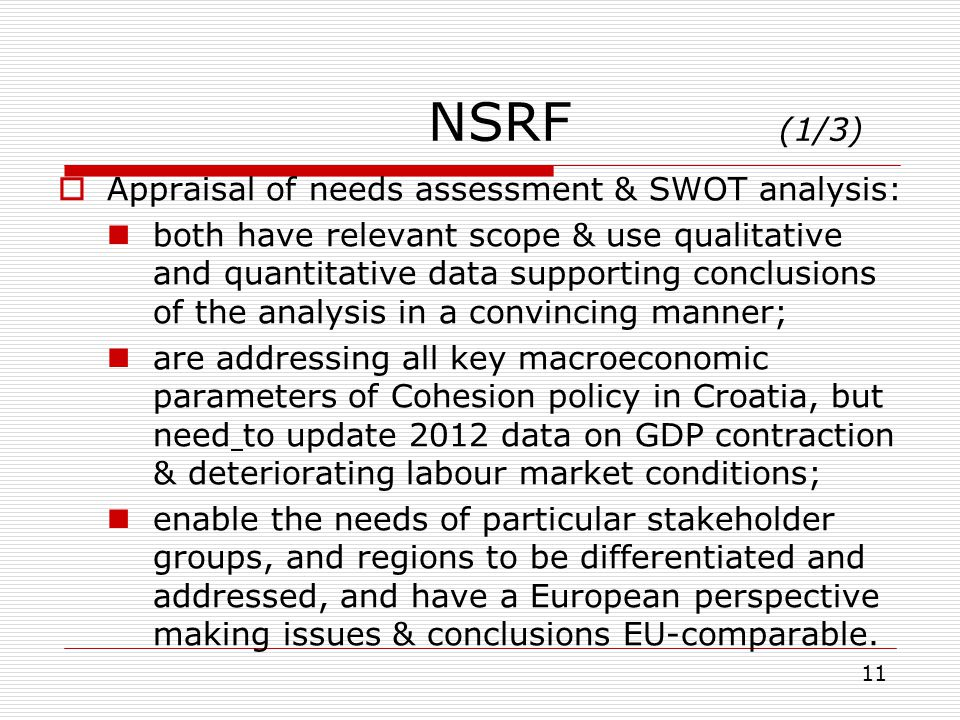NSRF (1/3) Appraisal of needs assessment & SWOT analysis: