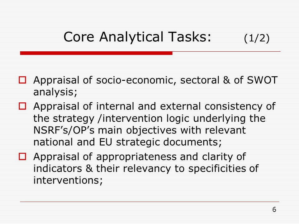 Core Analytical Tasks: (1/2)