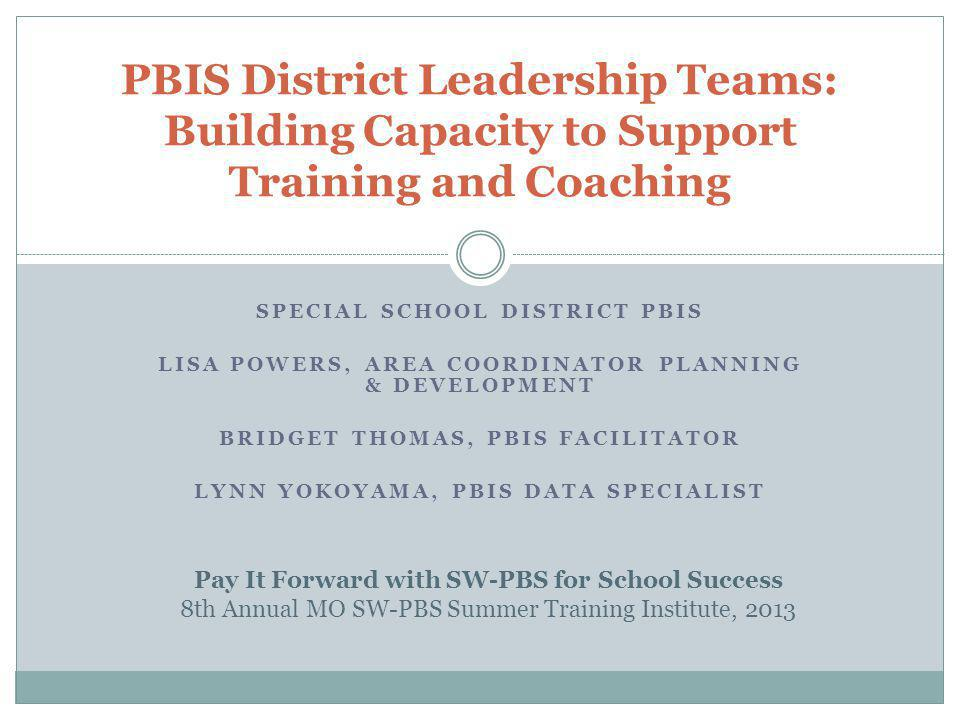 PBIS District Leadership Teams: Building Capacity to Support Training and Coaching