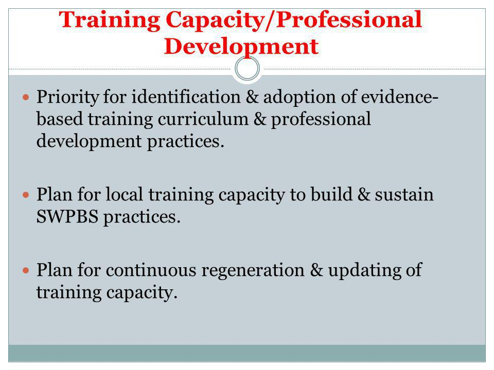 Training Capacity/Professional Development