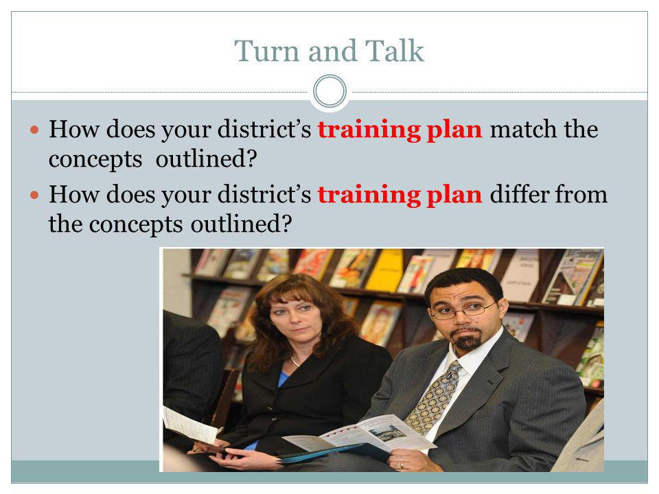 Turn and Talk How does your district's training plan match the concepts outlined