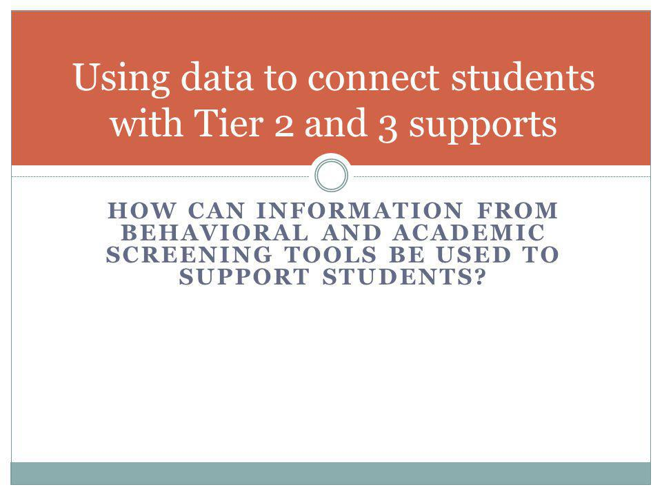 Using data to connect students with Tier 2 and 3 supports
