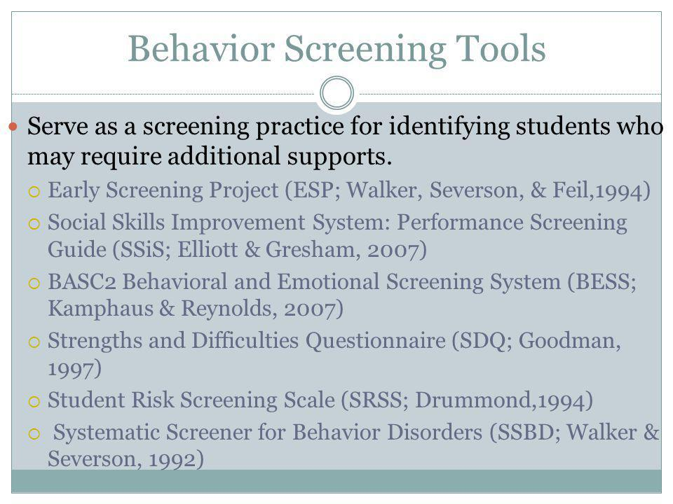 Behavior Screening Tools