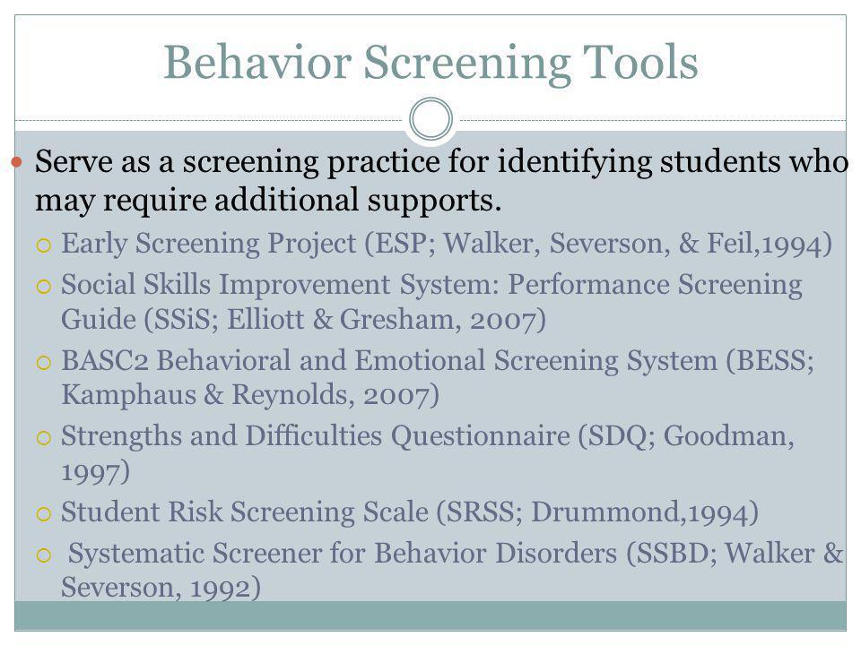 Behavior Screening Tools