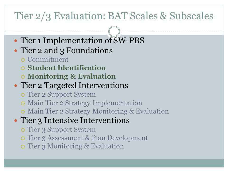 Tier 2/3 Evaluation: BAT Scales & Subscales