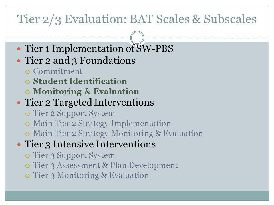 Tier 2/3 Evaluation: BAT Scales & Subscales