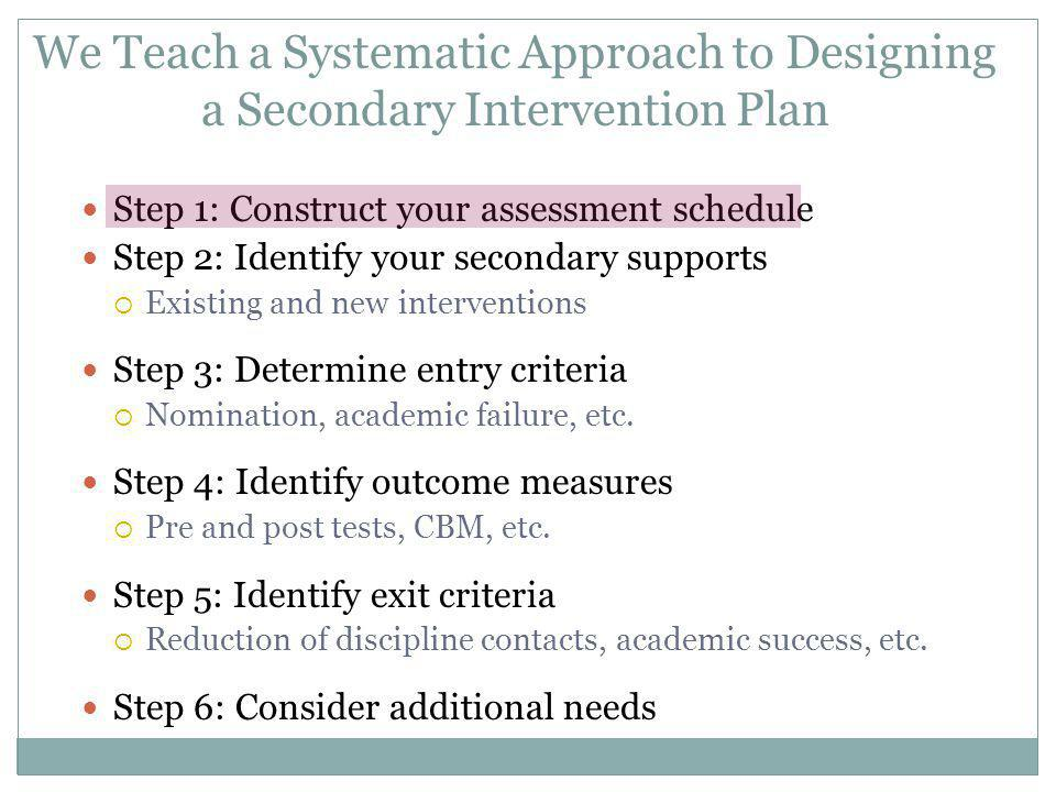 We Teach a Systematic Approach to Designing a Secondary Intervention Plan