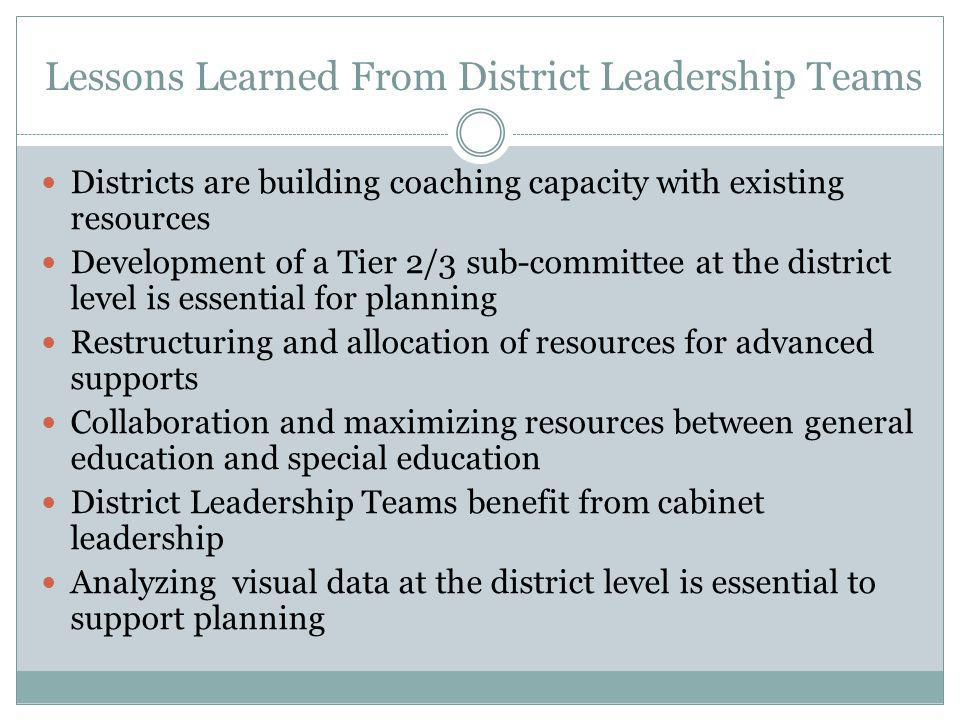 Lessons Learned From District Leadership Teams