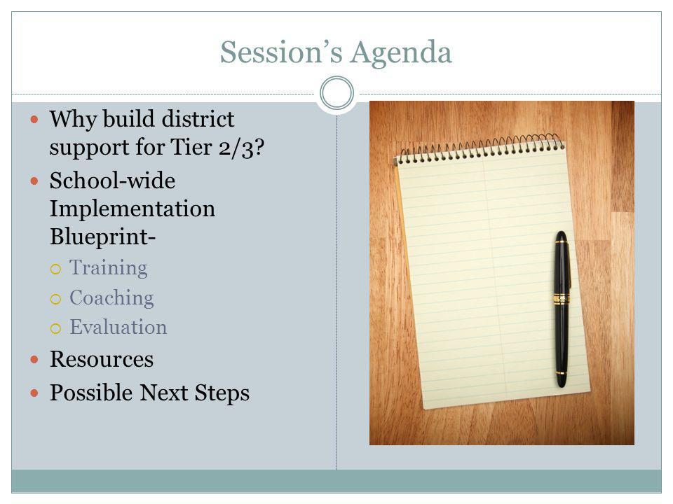 Session's Agenda Why build district support for Tier 2/3