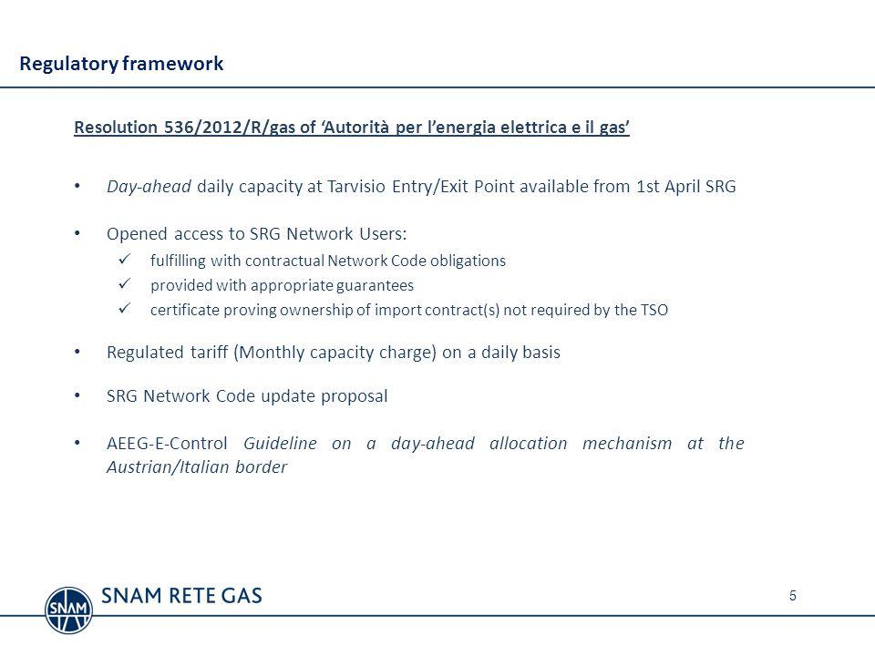 Regulatory framework Resolution 536/2012/R/gas of 'Autorità per l'energia elettrica e il gas'