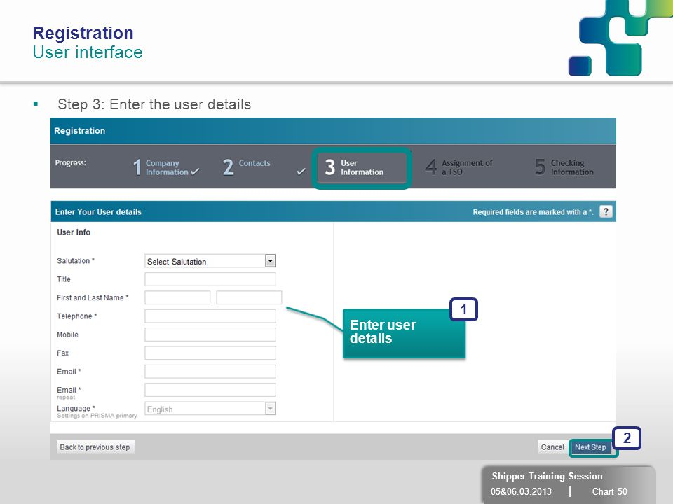 Registration User interface Step 3: Enter the user details 1 2