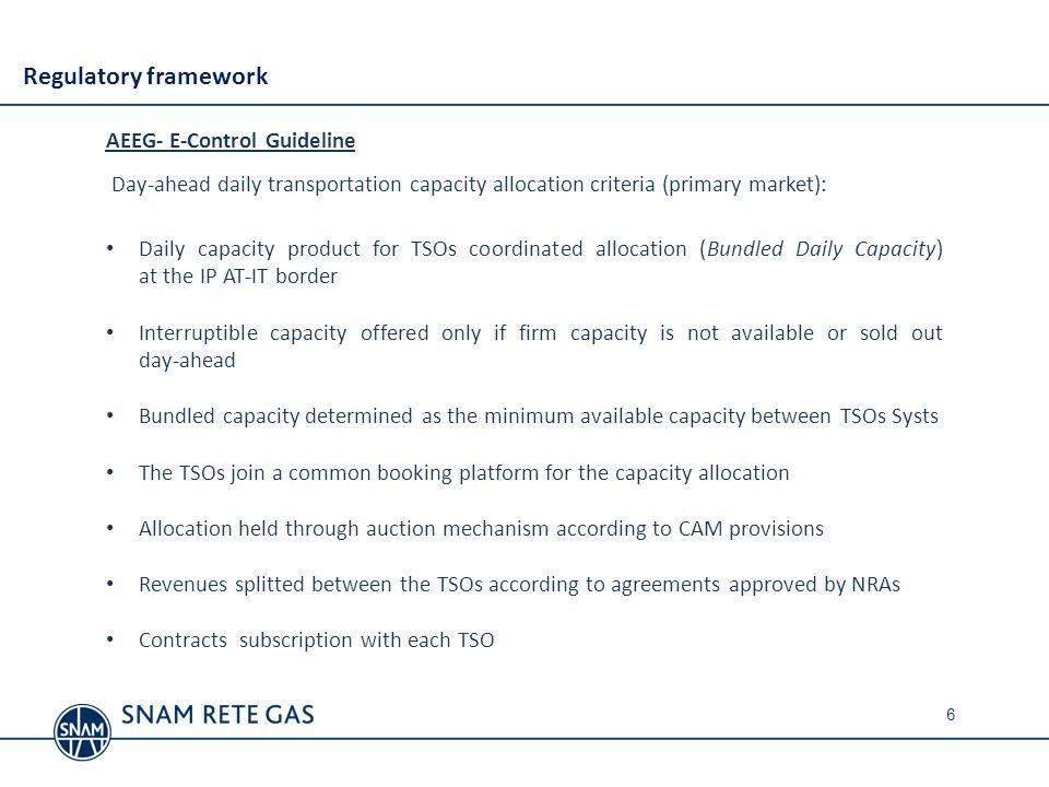Regulatory framework AEEG- E-Control Guideline
