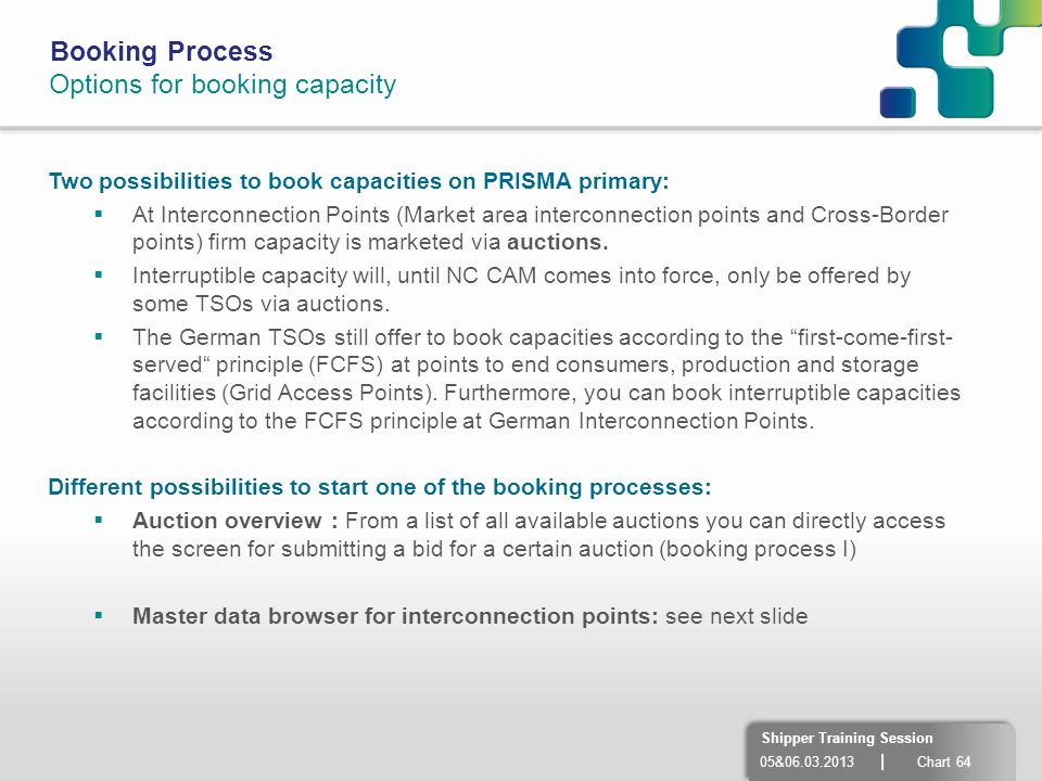 Options for booking capacity