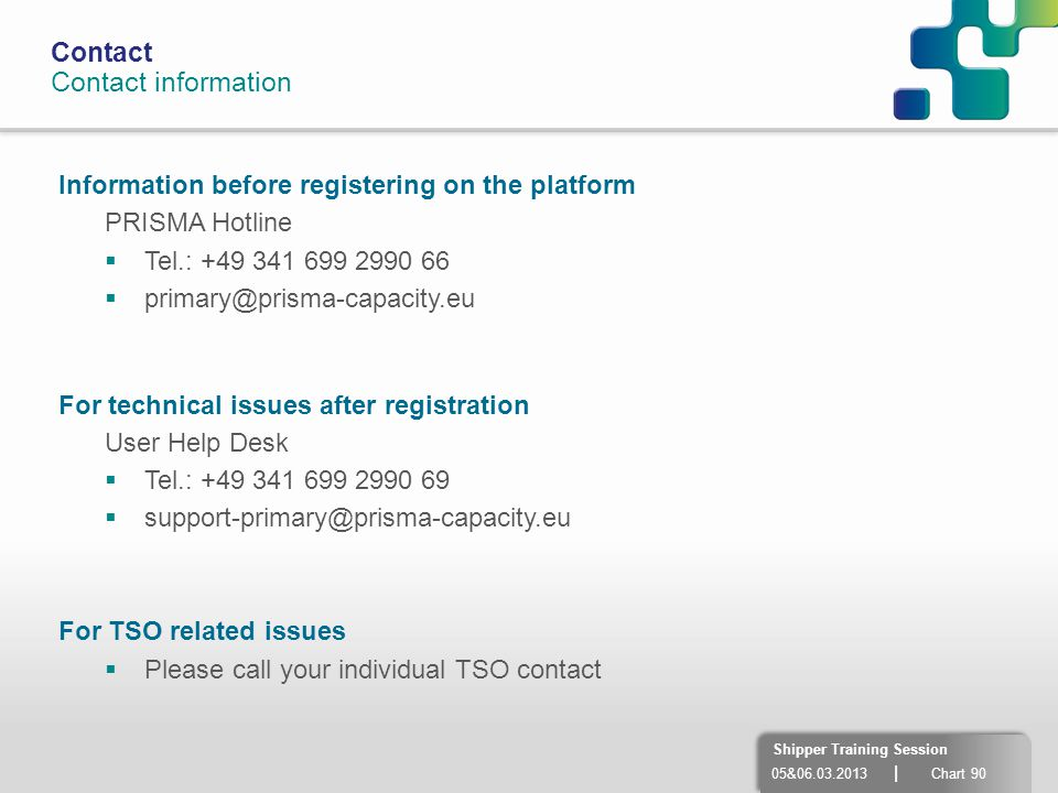 Contact Contact information. Information before registering on the platform. PRISMA Hotline. Tel.: +49 341 699 2990 66.
