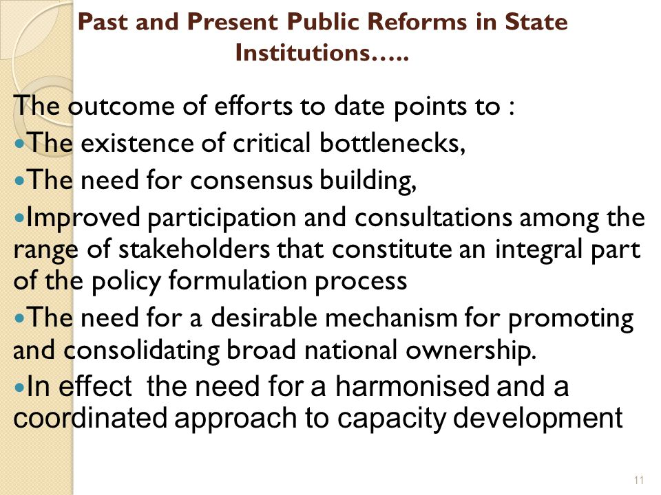 Past and Present Public Reforms in State Institutions…..