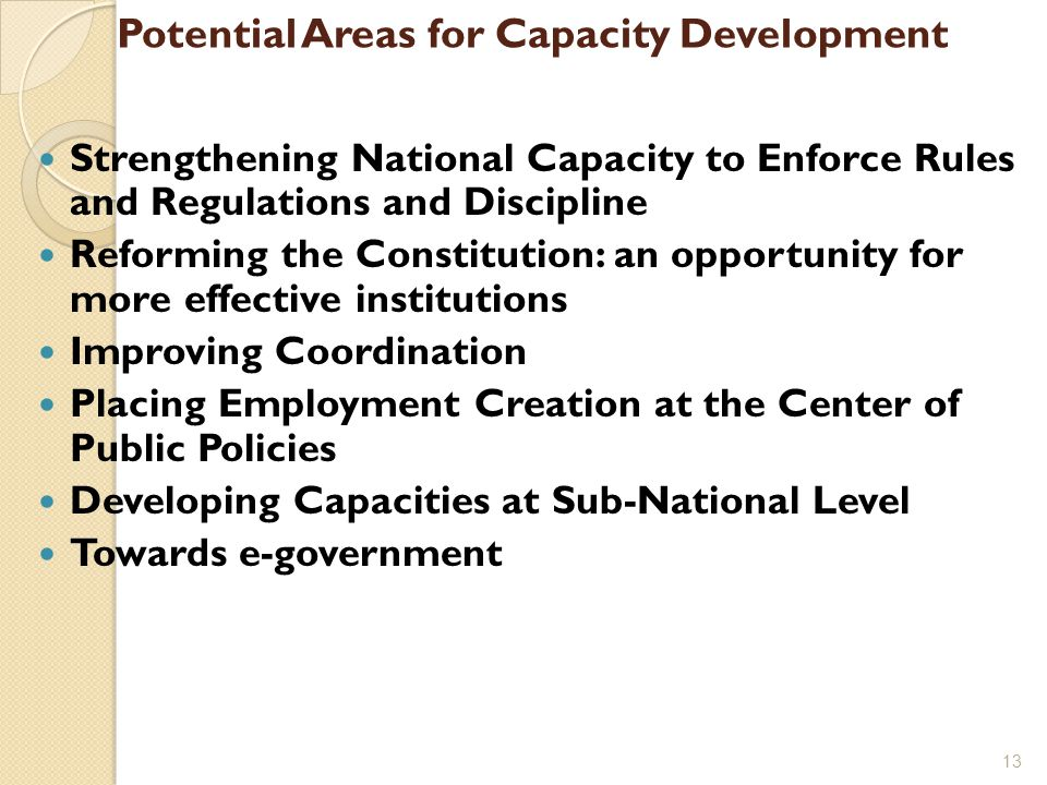 Potential Areas for Capacity Development