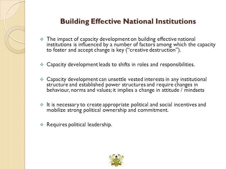Building Effective National Institutions